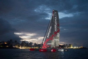 Winner Multi 50 category Arkema, skippers Lalou Roucayrol and Alex Pella, in 10d 19h 14mn 19s, during arrival of the duo sailing race Transat Jacques Vabre 2017 from Le Havre (FRA) to Salvador de Bahia (BRA), on November 16th, 2017 - Photo Jean-Louis Carli / ALeA / TJV17