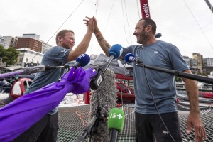 Winner Multi 50 category Arkema, skippers Lalou Roucayrol and Alex Pella, in 10d 19h 14mn 19s, with media during arrival of the duo sailing race Transat Jacques Vabre 2017 from Le Havre (FRA) to Salvador de Bahia (BRA), on November 16th, 2017 - Photo Jean-Marie Liot / ALeA / TJV17